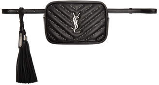 Saint Laurent Black Quilted Studded Lou Belt Bag