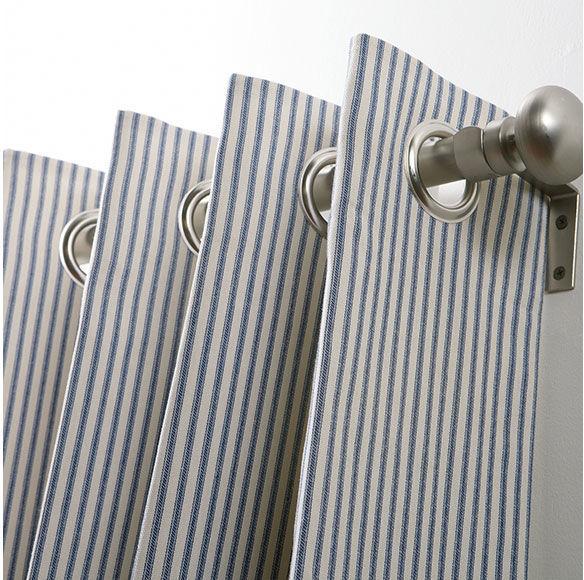 Ethan Allen Ticking Stripe Grommet-Top Panel