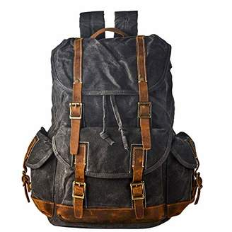 """BRASS TACKS Leathercraft Men's Heavy Duty Waxed Canvas Vintage Backpack Genuine Leather Trim Casual 15.6""""laptop Bookbag Travel Rucksack"""