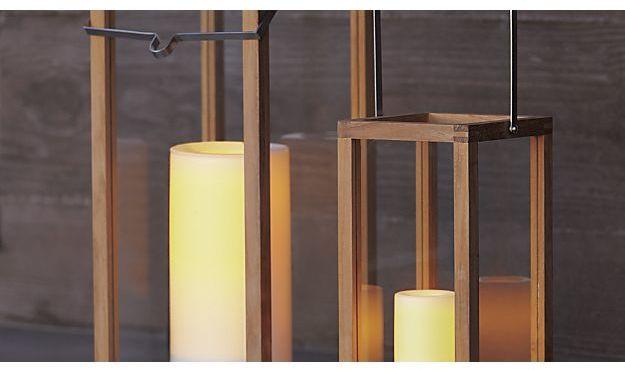 Crate & Barrel Crosby Teak Wood Lanterns