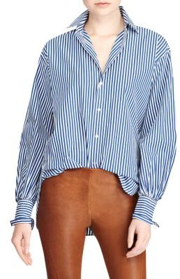 Polo Ralph Lauren Striped Cotton Boyfriend Button-Down Shirt $125 thestylecure.com