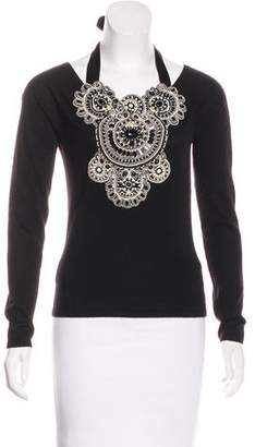 Naeem Khan Cashmere Embellished Top