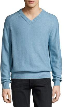 Tom Ford Raglan Cotton-Cashmere Blend V-Neck Sweater, Sky Blue