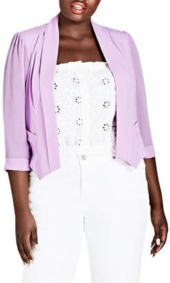 City Chic Sheer Sleeve Crop Blazer