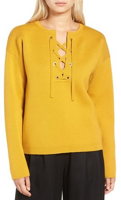 Women's J.crew Collection Bonded Lace-Up Sweater $198 thestylecure.com
