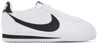 Nike White and Black Classic Cortez Sneakers