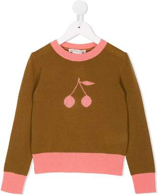 Bonpoint cherry intarsia knitted jumper