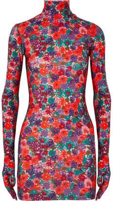 Vetements Floral-print Stretch-jersey Mini Dress - Red