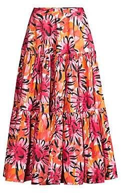 Michael Kors Women's Runway Look One Tiered Floral Skirt