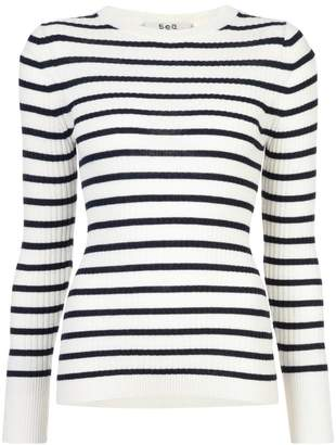 Sea striped fitted sweater