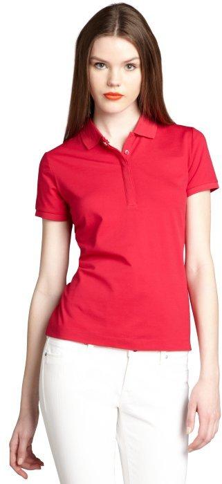Moncler fuchsia cotton blend pique short sleeve polo shirt