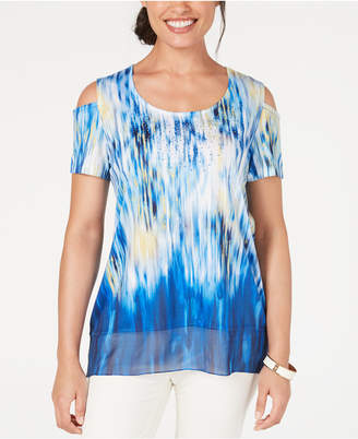200419088b2c8 JM Collection Printed Embellished Tie Dye Cold-Shoulder Top