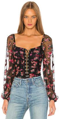 For Love & Lemons Blondie Embroidered Bodysuit