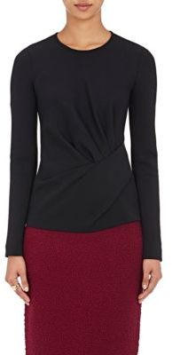 Lanvin Women's Gathered Compact Jersey Top-BLACK $1,280 thestylecure.com