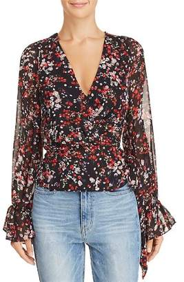 Lucy Paris Floral Print Faux-Wrap Top