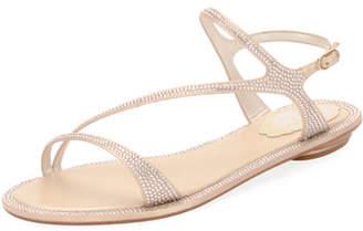 Rene Caovilla Strass Flat Strappy Sandals, Neutral