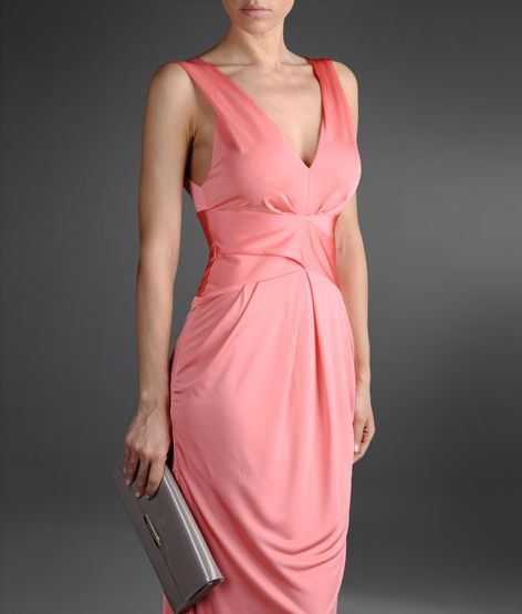 Emporio Armani long jersey dress with V neck