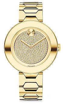 Movado Women's BOLD T-Bar Light Gold Ion-Plated Stainless Steel & Crystal Dial Bracelet Watch
