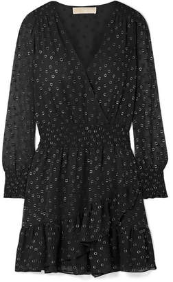MICHAEL Michael Kors Ruffled Wrap-effect Fil Coupé Chiffon Mini Dress - Black
