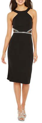 REBECCA B Rebecca B Sleeveless Applique Bodycon Dress