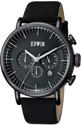 Edwin EW1G013L0034 Men's Stainless Steel Leather Band Dial Watch