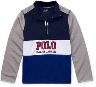 Ralph Lauren Childrenswear Colorblock Logo Half-Zip Knit Top, Size 5-7