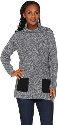 Susan Graver Cotton Acrylic Turtleneck Sweater w/ Faux Suede Pockets