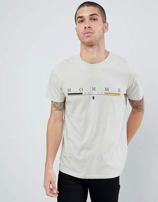 New Look t-shirt with homme print in light gray