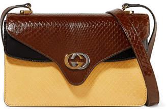 2ed274f4e3d Gucci Tiger Small Color-block Python Shoulder Bag - Brown