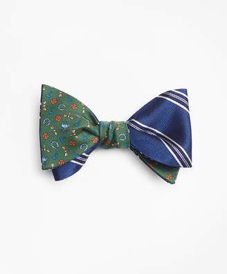 Brooks Brothers Framed Split Stripe with Lucky Motif Reversible Bow Tie