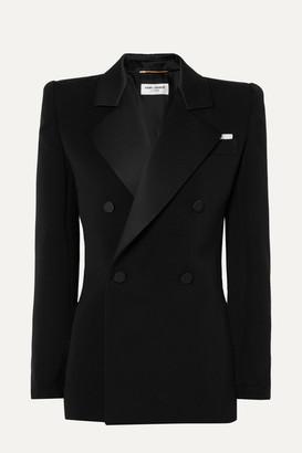 Saint Laurent Silk Satin-trimmed Wool Mini Dress - Black