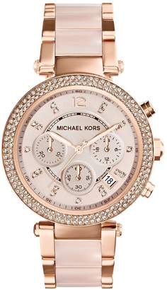 Michael Kors Ladies Parker Rose Gold Tone Chronograph Glitz Watch