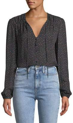 Veronica Beard Arbor Floral Button-Front Silk Blouse