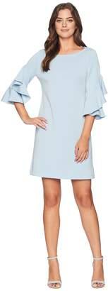 Taylor Double Ruffle Sleeve Shift Dress Women's Dress