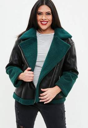 Missguided Curve Black Premium Faux Sherling Aviator Jacket