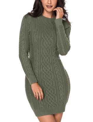 Nacy Women Crew Neck Long Sleeve Cable Bodycon Above Knee Knit Sweater Dress