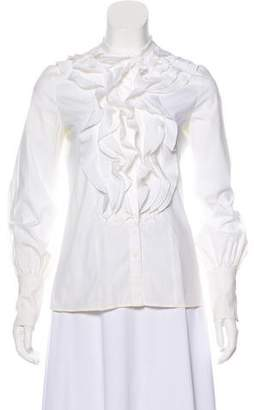 Valentino Ruffle-Accented Button-Up Blouse