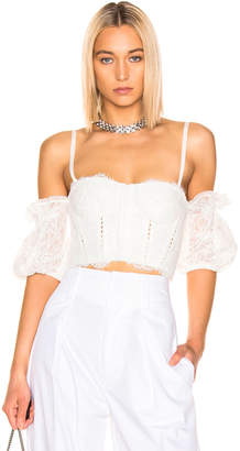 Jonathan Simkhai Multimedia Corded Lace Bustier Top in White | FWRD