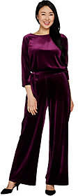 Joan Rivers Classics Collection Joan Rivers Petite Length Velour Jumpsuit with3/4 Sleeves