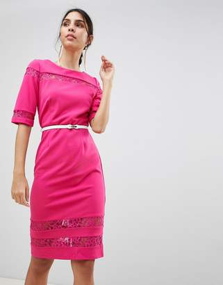 Paper Dolls Lace Trim Belted Bodycon Dress