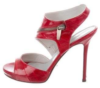Sergio Rossi Eel Skin Zip-Embellished Sandals