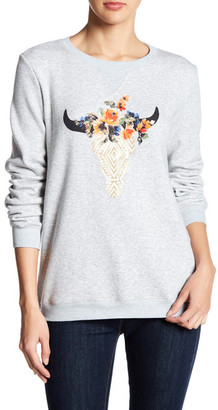 Peach Love Cream Crew Neck Long Sleeve Graphic Pullover $74.70 thestylecure.com