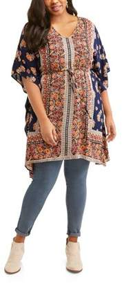 Light & Sound Women's Plus Boho Print Cinched Waist Kaftan Tunic
