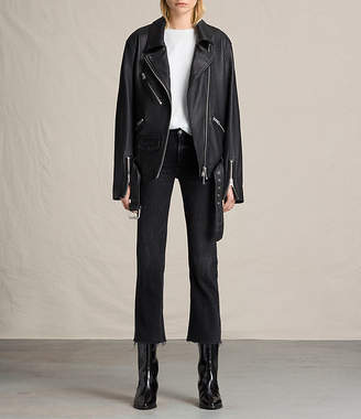 AllSaints Kumara Oversized Leather Biker Jacket $820 thestylecure.com