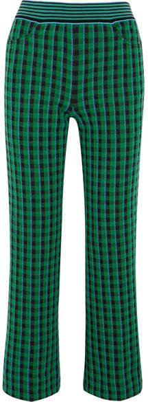 Missoni - Checked Stretch Wool-blend Straight-leg Pants - Green