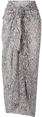 On The Island By Marios Schwab - Psili Zebra-print Cotton-voile Pareo - Brown