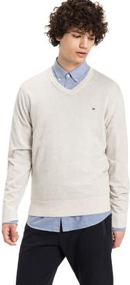 Tommy Hilfiger Combed Cotton V-Neck Sweater