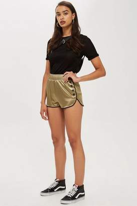 Topshop Satin Popper Runner Shorts