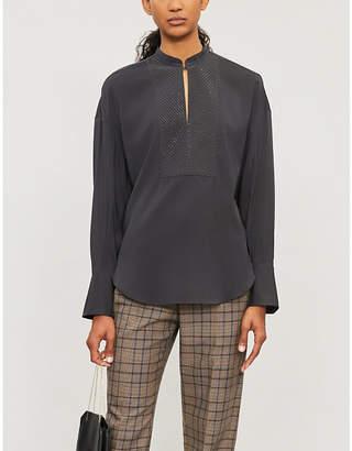 Brunello Cucinelli Beaded-trim long-sleeved stretch-silk shirt