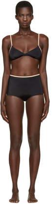 BRIGITTE Solid and Striped Black The Bikini
